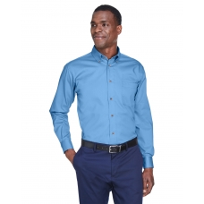 Harriton M500 Men's Long-Sleeve Twill Shirt with Stain-Release