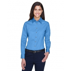 Harriton M500W Ladies' Long-Sleeve Twill Shirt with Stain-Release