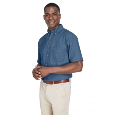 Harriton M550S Denim short sleeve