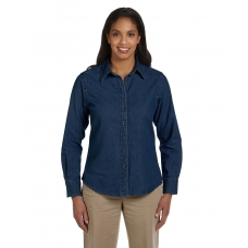 Harriton M550W Ladies' Long-Sleeve Denim Shirt