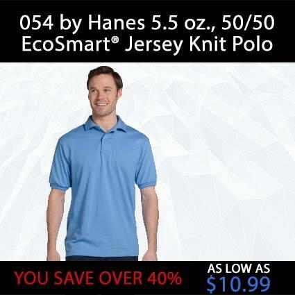 054 by Hanes 5.5 oz., 50/50 EcoSmart® Jersey Knit Polo