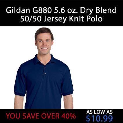 Gildan G880 5.6 oz. Dry Blend 50/50 Jersey Knit Polo