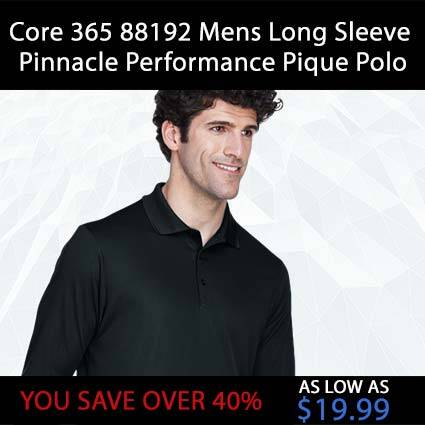 Core 365 88192 Mens Long Sleeve Pinnacle Performance Pique Polo