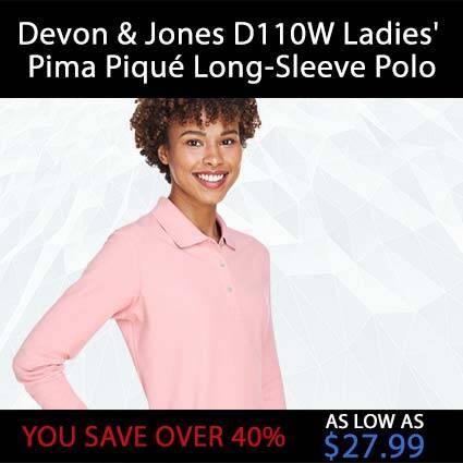 Devon & Jones D110W Ladies' Pima Piqué Long-Sleeve Polo