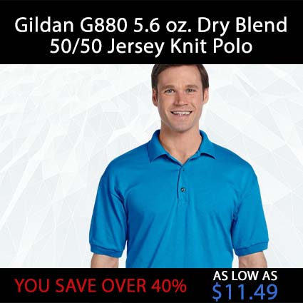 Gildan G880 5.6 oz. Dry Blend 50/50 Jersey Knit Polo