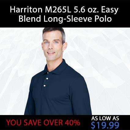Harriton M265L 5.6 oz. Easy Blend Long-Sleeve Polov